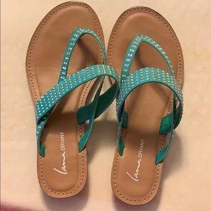 Lane Bryant aqua bling sandals 8 wide